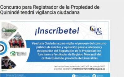 CONCURSO PARA REGISTRADOR DE LA PROPIEDAD DE QUININDÉ TENDRÁ VIGILANCIA CIUDADANA.