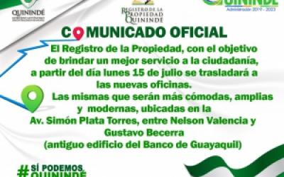 REGISTRO DE LA PROPIEDAD, SE TRASLADARÁ A NUEVAS INSTALACIONES
