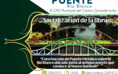 """""""INVITACIÓN SOCIALIZACIÓN DEL PROYECTO DEL PUENTE SOBRE EL RIO BLANCO""""."""