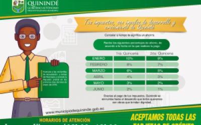 Con el 10% de descuento inició en Quinindé cobro de impuesto predial 2019